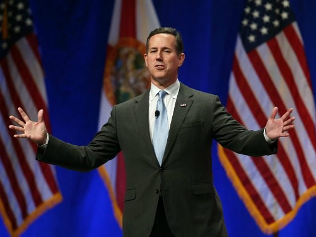 Republican presidential candidate former U.S. Sen. Rick Santorum (R-PA) speaks during the Sunshine Summit conference being held at the Rosen Shingle Creek on November 14, 2015 in Orlando, Florida. The summit brought Republican presidential candidates in front of the Republican voters. (Photo by )