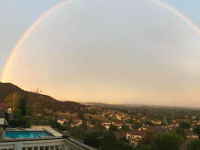 Rainbow over Hollywood Hills (Doug Addison / Twitter)
