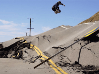 Skateboarders Descend on Road Buckled by Landslide