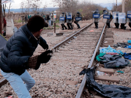 Migrants Clash With Police At Greece-Macedonia Border Stone Riot