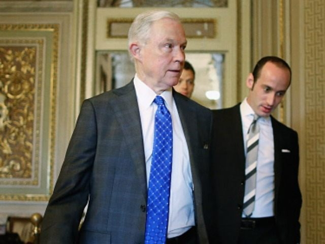 Sen. Jeff Sessions (R-AL) arrives for a briefing with U.S. Secretary of State John Kerry at the U.S. Capitol September 9, 2015 in Washington, DC. Kerry will be briefing members of the House and Senate Judiciary committees about the Syrian refugee crisis in Europe and the Iran nuclear deal. (Photo …