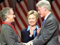 Spielberg, Hillary and Bill Clinton AFP