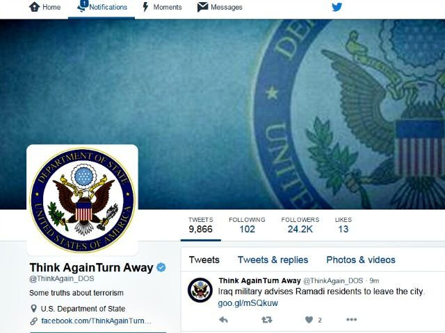 St Dept Think Again Turn Away Twitter page