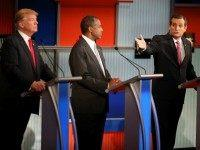 epublican presidential candidate Donald Trump (L) and Ben Carson (C) looks on as U.S. Sen. Ted Cruz (R-TX) speaks during the Republican Presidential Debate sponsored by Fox Business and the Wall Street Journal at the Milwaukee Theatre on November 10, 2015 in Milwaukee, Wisconsin. The fourth Republican debate is held in two parts, one main debate for the top eight candidates, and another for four other candidates lower in the current polls. (Photo by )