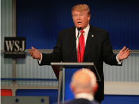 Presidential candidate Donald Trump during the Republican Presidential Debate sponsored by Fox Business and the Wall Street Journal at the Milwaukee Theatre November 10, 2015 in Milwaukee, Wisconsin. The fourth Republican debate is held in two parts, one main debate for the top eight candidates, and another for four other candidates lower in the current polls. (Photo by