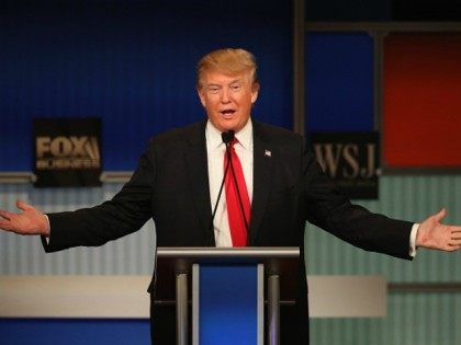 Presidential candidate Donald Trump speaks during the Republican Presidential Debate sponsored by Fox Business and the Wall Street Journal at the Milwaukee Theatre November 10, 2015 in Milwaukee, Wisconsin. The fourth Republican debate is held in two parts, one main debate for the top eight candidates, and another for four …