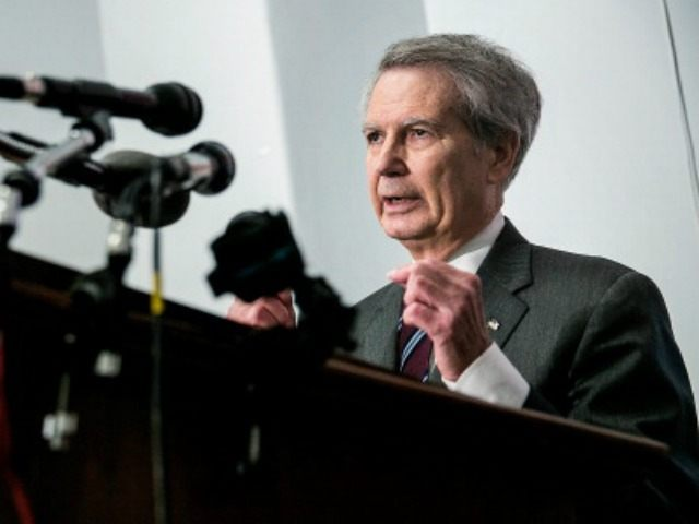 U.S. Rep. Walter Jones (R-NC) speaks during a press conference on U.S. House bill H.R. 428 in the Cannon House Office Building on March 12, 2014 in Washington, DC. The bill would make public 28 pages, currently classified, that were removed from the congressional investigation's report on the terrorist attacks …