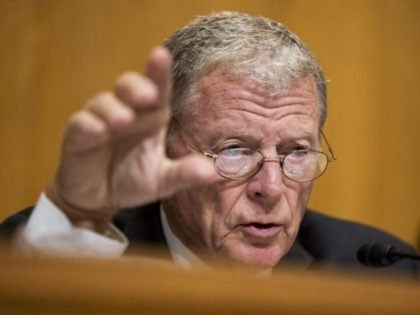 FILE - In this Sept. 29, 2015, file photo, Sen. James Inhofe, R-Okla., questions a witness during a hearing on Capitol Hill in Washington. Inhofe, an 81-year-old avid pilot who had quadruple heart bypass surgery two years ago, is trying to loosen medical exam requirements so that private pilots like …