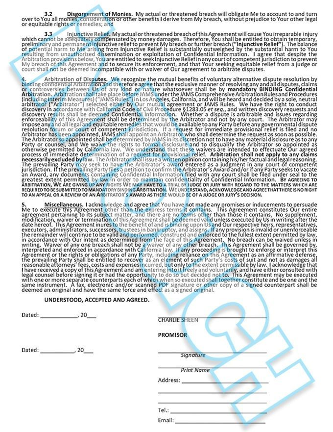 READ Charlie Sheen S Non Dislcosure Agreement For Ual