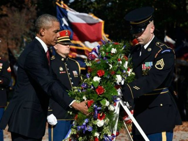 President Obama lays a wreath on Veteran's Day 2015.