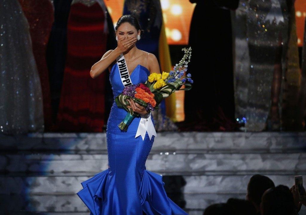 Miss Philippines Pia Alonzo Wurtzbach reacts as she was announced as the new Miss Universe at the Miss Universe pageant on Sunday, Dec. 20, 2015, in Las Vegas. Miss Colombia Ariadna Gutierrez was incorrectly named as Miss Universe before her crown was taken away. (AP Photo/John Locher)