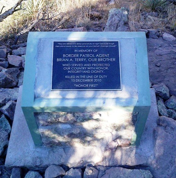 A memorial to Brian Terry sits near the spot in southern Arizona where he was killed. (Photo Courtesy Brian Terry Foundation)