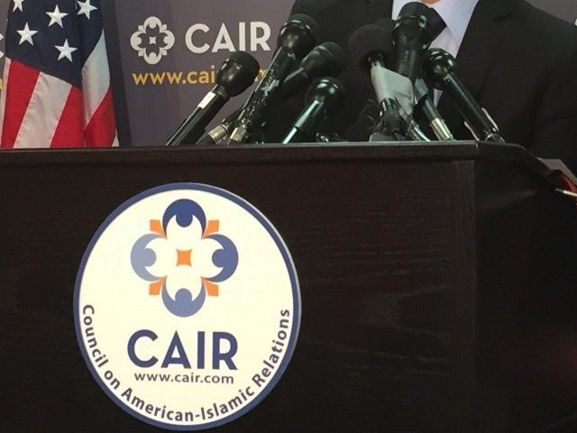 CAIR microphone (Jessica Gresko / Associated Press)