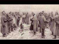 "Originally published in The Illustrated London News, January 9, 1915. The Illustrated London News's illustration of the Christmas Truce: ""British and German Soldiers Arm-in-Arm Exchanging Headgear: A Christmas Truce between Opposing Trenches"" The subcaption reads ""Saxons and Anglo-Saxons fraternising on the field of battle at the season of peace and …"