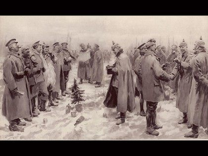 """Originally published in The Illustrated London News, January 9, 1915. The Illustrated London News's illustration of the Christmas Truce: """"British and German Soldiers Arm-in-Arm Exchanging Headgear: A Christmas Truce between Opposing Trenches"""" The subcaption reads """"Saxons and Anglo-Saxons fraternising on the field of battle at the season of peace and …"""