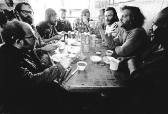 Crew around galley table. Patrick is on the right , 1971