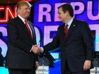 epublican presidential candidates Donald Trump (L) and Sen. Ted Cruz (R-TX) shake hands as they are introduced during the CNN presidential debate at The Venetian Las Vegas on December 15, 2015 in Las Vegas, Nevada. Thirteen Republican presidential candidates are participating in the fifth set of Republican presidential debates. (Photo …