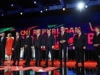 Republican presidential candidates (L-R) Ohio Gov. John Kasich, Carly Fiorina, Sen. Marco Rubio (R-FL), Ben Carson, Donald Trump, Sen. Ted Cruz (R-TX), Jeb Bush, New Jersey Gov. Chris Christie and Sen. Rand Paul (R-KY) are introduced during the CNN presidential debate at The Venetian Las Vegas on December 15, 2015 in Las Vegas, Nevada. Thirteen Republican presidential candidates are participating in the fifth set of Republican presidential debates. (Photo by