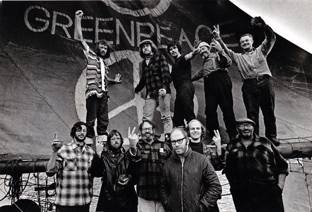 """The Greenpeace crew on the first voyage to protest US H-Bomb testing in Alaska 1971. Patrick is under the """"P""""."""
