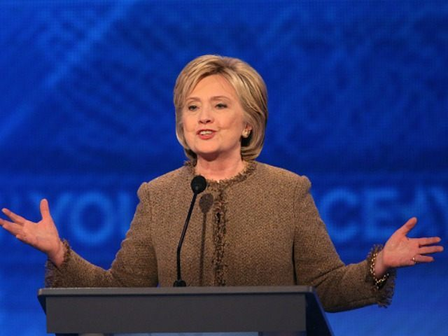 Democratic president candidate Hillary Clinton speaks at the debate at Saint Anselm College December 19, 2015 in Manchester, New Hampshire. This is the third Democratic debate featuring Democratic candidates Hillary Clinton, Bernie Sanders and Martin O'Malley. (Photo by )