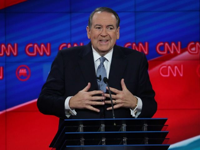 Republican presidential candidate Mike Huckabee speaks during the CNN Republican presidential debate on December 15, 2015 in Las Vegas, Nevada. This is the last GOP debate of the year, with U.S. Sen. Ted Cruz (R-TX) gaining in the polls in Iowa and other early voting states and Donald Trump rising in national polls. (Photo by )