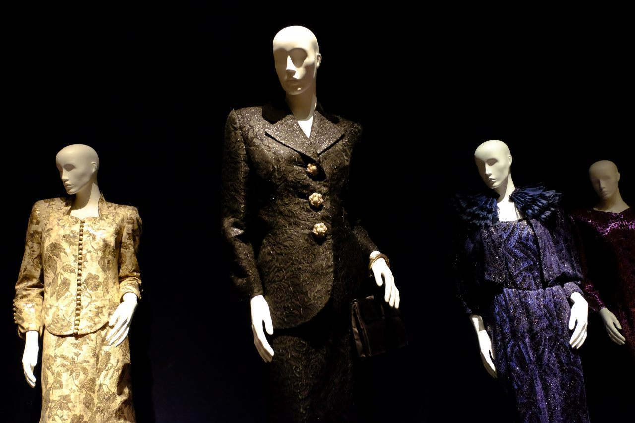 A collection of the Iron Lady's dresses. (Rachel Megawhat/Breitbart London)