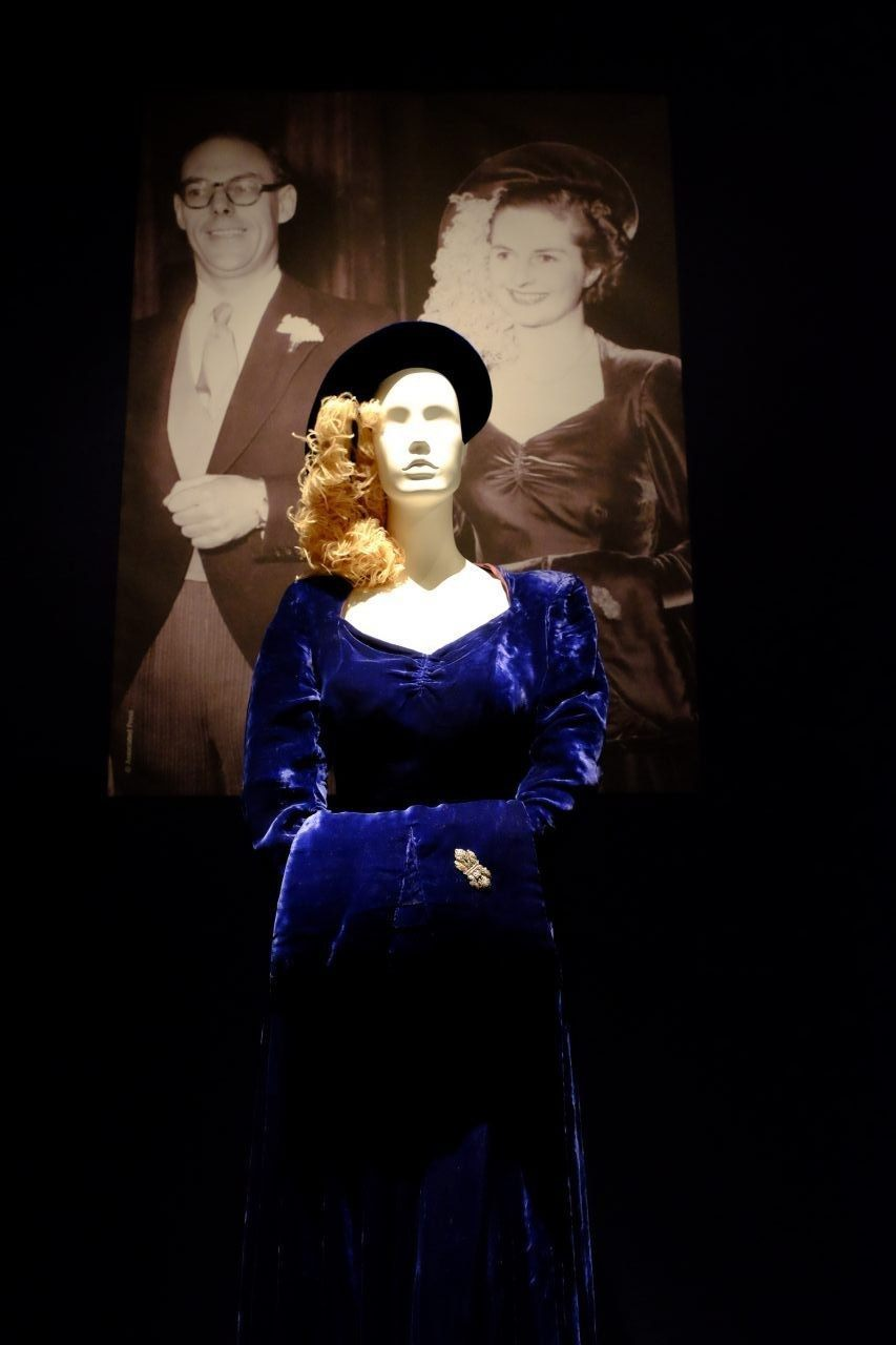The gown the Iron Lady wore at her wedding to Denis Thatcher in 1951. (Rachel Megawhat/Breitbart London)