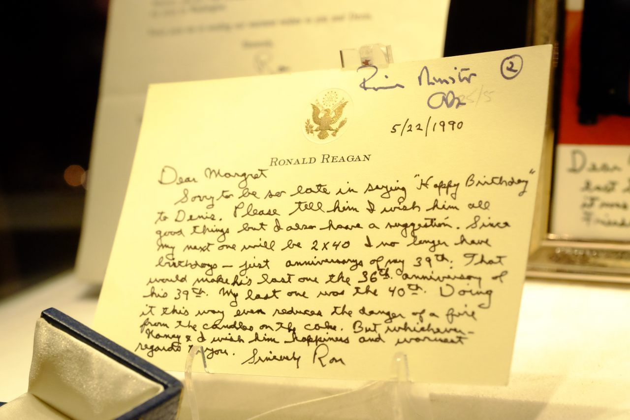 "Autograph note from Ronald Reagan saying ""Happy birthday"", signed 'Ron' (Rachel Megawhat/Breitbart London)"