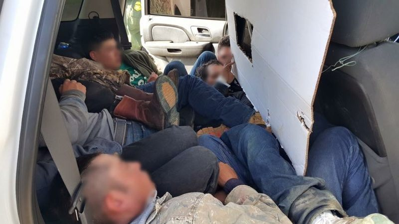 Twelve illegal aliens stuffed inside a cloned border patrol vehicle. (Photo: U.S. Border Patrol)
