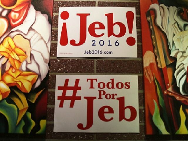 Campaign posters are seen on the walls as Republican presidential candidate and former Florida Governor Jeb Bush holds a meet and greet event at Chico's Restaurant on December 28, 2015 in Hialeah, Florida. Bush continues to campaign for his parties' nomination as the presidential candidate. (Photo by )
