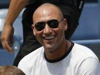 Retired New York Yankees star Derek Jeter attends a match between Caroline Wozniacki of Denmark and Jamie Loeb of the US during their 2015 US Open Women's Singles round 1 at the USTA Billie Jean King National Tennis Center September 1, 2015 in New York. AFP PHOTO/KENA BETANCUR (Photo credit …