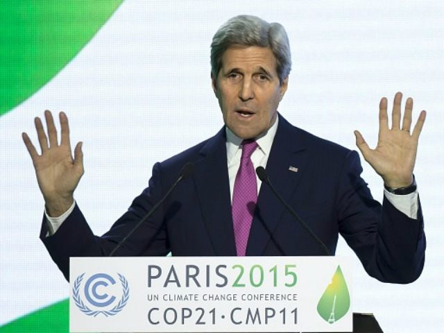 John Kerry gives a speech during a news conference at the COP21 Climate Conference in Le Bourget, north of Paris, on December 9, 2015. The 21st Conference of the Parties (COP21) is held in Paris from November 30 to December 11 aimed at reaching an international agreement to limit greenhouse …