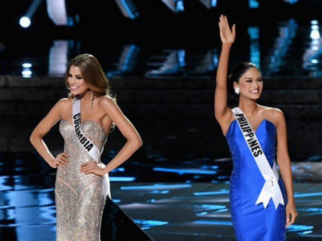 he top three finalists (L-R) Miss USA 2015, Olivia Jordan, Miss Colombia 2015, Ariadna Gutierrez, and Miss Philippines 2015, Pia Alonzo Wurtzbach, stand onstage during the 2015 Miss Universe Pageant at The Axis at Planet Hollywood Resort & Casino on December 20, 2015 in Las Vegas, Nevada. Pia Alonzo Wurtzbach …