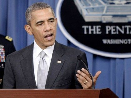 President Barack Obama delivers a statement on the counter-ISIL campaign in the Pentagon briefing room December 14, 2015 in Arlington, Virginia. President Obama met previously with a National Security Council on the counter-ISIL campaign. (Photo by )