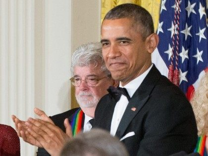 Obama and George Lucas (Andrew Harnik / Associated Press)