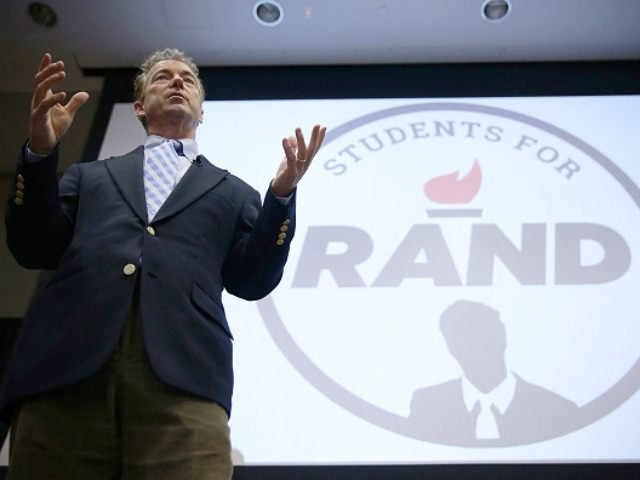 Republican presidential candidate Sen. Rand Paul (R-KY) speaks during a 'Students For Rand Rally' at George Washington University November 19, 2015 in Washington, DC. Sen. Paul continued to campaign for the Republican nomination for U.S. president. (Photo by