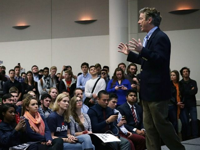 Republican presidential candidate Sen. Rand Paul (R-KY) speaks during a 'Students For Rand Rally' at George Washington University November 19, 2015 in Washington, DC. Sen. Paul continued to campaign for the Republican nomination for U.S. president. (Photo by )