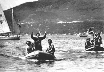 Returning home after whale campaign in 1975. Patrick is on the left driving.