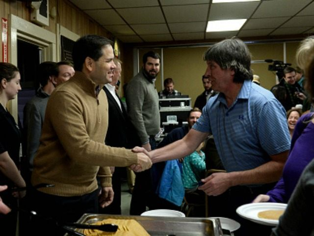 Republican Presidential candidate Marco Rubio attends a pancake breakfast at the Franklin VFW December 23, 2015 in Franklin, New Hampshire. Rubio handed out pancakes, spoke, and took questions from those in attendance. (Photo by )