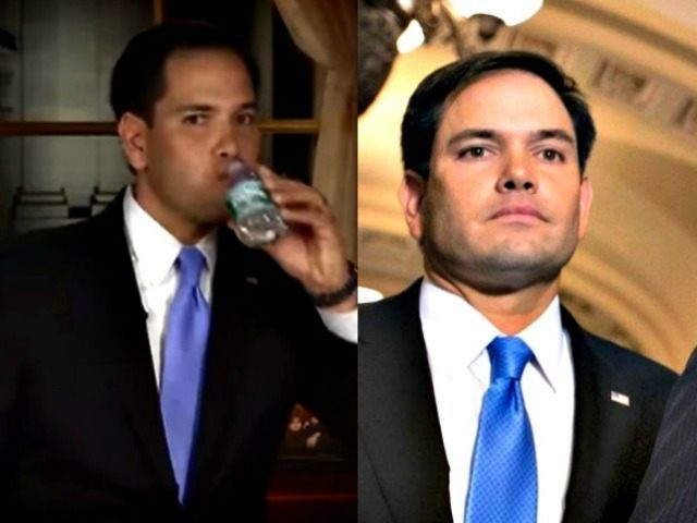 Rubio Water Bottle (Fox) and Blank Look (AP)
