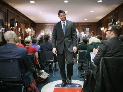 Speaker of the House Paul Ryan (R-WI) leaves a news briefing with members of the House GOP leadership following the weekly Republican Conference meeting at the Republican National Committee headquarters on Capitol Hill December 8, 2015 in Washington, DC. The House is preparing to vote on legislation that would deny …