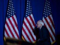 Democratic Presidential candidate Bernie Sanders takes the stage at the Jefferson Jackson Dinner at the Radisson Hotel November 29, 2015 in Manchester, New Hampshire. The dinner is held annually by the New Hampshire Democratic Party. (Photo by