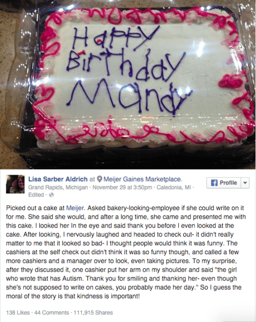 Photo Birthday Cake From Autistic Woman Goes Viral Breitbart