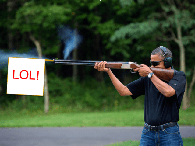 Obama shoots (Pete Souza / LOL)