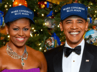 Obamas in Trump hats (DCCC)