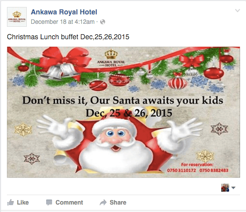 The Royal Ainkawa Hotel advertises a Santa visit.