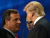 Presidential candidates Donald Trump (R) speaks with New Jersey Gov. Chris Christie during a break at the the CNBC Republican Presidential Debate at University of Colorados Coors Events Center October 28, 2015 in Boulder, Colorado. Fourteen Republican presidential candidates are participating in the third set of Republican presidential debates. (Photo …