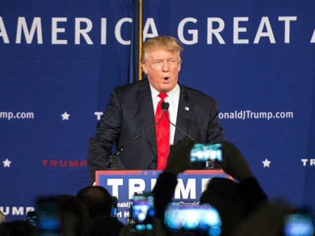 Republican presidential candidate Donald Trump speaks to the crowd at a Pearl Harbor Day Rally at the U.S.S. Yorktown December 7, 2015 in Mt. Pleasant, South Carolina.