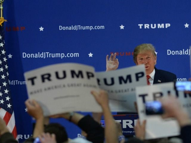 Republican Presidential candidate Donald Trump speaks at a rally at Pennichuck Middle School December 28, 2015 in Nashua, New Hampshire. Trump has seen his lead in the polls slip in Iowa but still remains in the lead in New Hampshire for the Republican nomination. (Photo by
