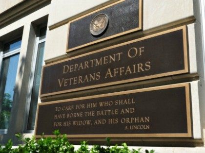 This May 19, 2014 photo shows a a sign in front of the Veterans Affairs building in Washington, DC. AFP PHOTO / Karen BLEIER